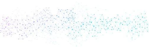 Vitt baner för global kommunikation med det färgrika nätverket stock illustrationer