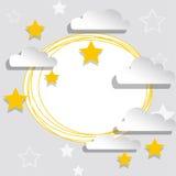 Vitt baner med stjärnor och moln Royaltyfria Foton
