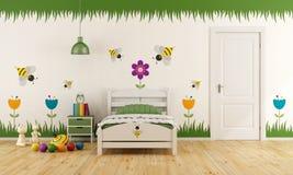 Vitt barnsovrum med garnering stock illustrationer