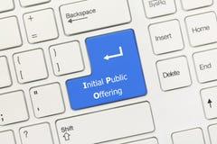 Vitt begreppsmässigt tangentbord - initial offentligt blå tangent för erbjuda royaltyfria foton