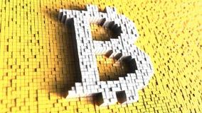 Vitt bitcoinsymbol som göras av stora PIXEL mot gul bakgrund lager videofilmer