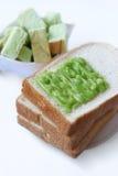 Vitt bröd och vaniljsås är den thailändska frukosten Royaltyfria Bilder