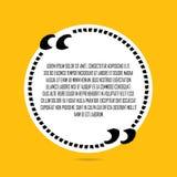 Vitt citationstecken för cirkel på gul bakgrund Fotografering för Bildbyråer
