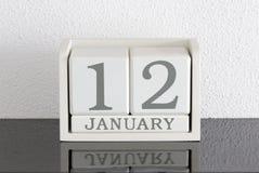 Vitt datum 12 för gåva för kvarterkalender och månad Januari Royaltyfri Foto