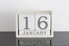 Vitt datum 16 för gåva för kvarterkalender och månad Januari Royaltyfria Bilder