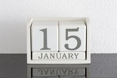 Vitt datum 15 för gåva för kvarterkalender och månad Januari Royaltyfri Foto