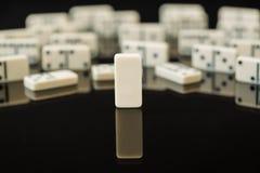 Vitt domino med singelmellanrumsdominobricka Fotografering för Bildbyråer