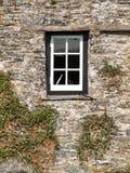 Vitt fönster i en svart ram Fotografering för Bildbyråer
