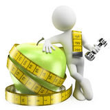 vitt folk 3D. Förlora vikt med sporten och sund mat Fotografering för Bildbyråer