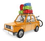 vitt folk 3D. Familjen går på ferie med bilen Arkivbild