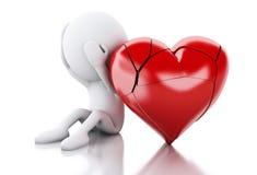 vitt folk 3d med bruten hjärta man för begreppskyssförälskelse till kvinnan Royaltyfri Fotografi