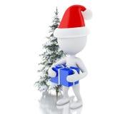 vitt folk 3d med den blåa gåvaasken och julgranen i nytt s Royaltyfri Fotografi