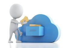 vitt folk 3d med mappar och molnet cloud meddelande resurser för begreppet för datoren beräknande lokaliserade bärbar dator Arkivfoto