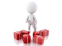 vitt folk 3d med röda gåvaaskar Julfilial och klockor Stock Illustrationer