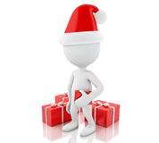 vitt folk 3d med röda gåvaaskar Julfilial och klockor Arkivfoton