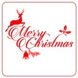Vitt hälsningskort för glad jul som är rött och Fotografering för Bildbyråer