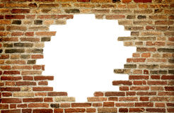 Vitt hål i den gammala väggen, tegelstenram Royaltyfri Fotografi
