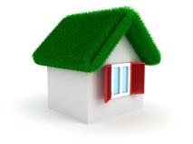 Vitt hus för begrepp med det gröna gräshousetoptaket Royaltyfri Foto