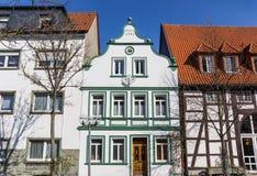 Vitt hus i den historiska staden av Lippstadt royaltyfri foto