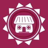 Vitt hus i solen, logo på en röd bakgrund, vektor royaltyfri illustrationer
