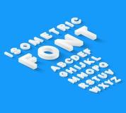 Vitt isometriskt stilsortsalfabet Arkivfoton
