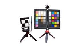 Vitt jämviktsfärgdiagram och regler som testar det isolerade hjälpmedlet Arkivfoto