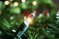 Vitt julgranljusslut upp Royaltyfri Fotografi