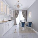 Vitt kök med den äta middag tabellen i en klassisk stil Den ljusa inre av köket royaltyfri illustrationer