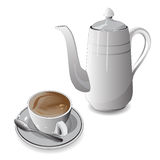 Vitt kopp kaffe och kaffe pot_C7 Fotografering för Bildbyråer