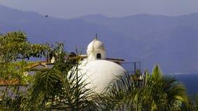 Vitt kupoltak bland tropiska träd arkivfoto