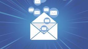 Vitt kuvert som fylls med emails lager videofilmer