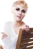 vitt kvinnabarn för härlig pullover Arkivfoton