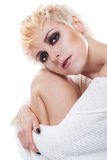 vitt kvinnabarn för härlig pullover Fotografering för Bildbyråer