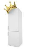 Vitt kylskåp och guld- krona Royaltyfria Bilder