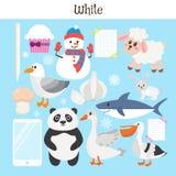 vitt Lär färgen Utbildningsuppsättning Illustration av primärt c Royaltyfria Bilder