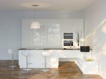 Vitt lyxigt högteknologiskt kök med stången (Front View) Arkivbild