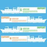 Vitt marin- lastfartyg som är destinerat för export- och importgods, stock illustrationer