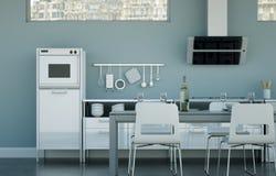 Vitt modernt kök i en vind med en härlig design Arkivbild