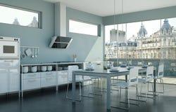 Vitt modernt kök i en vind med en härlig design Royaltyfri Fotografi