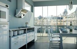 Vitt modernt kök i en vind med en härlig design Royaltyfri Foto