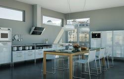 Vitt modernt kök i en vind med en härlig design Fotografering för Bildbyråer