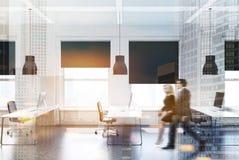 Vitt modernt kontor, sida för affärsfolk Arkivfoton