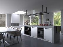 Vitt modernt lyxigt kök som är inre med terrassen royaltyfri illustrationer