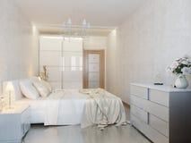 Vitt modernt sovrum Arkivbild
