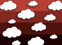 Vitt moln på färgrik röd bakgrund Fotografering för Bildbyråer