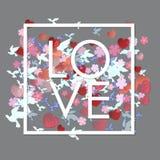 Vitt ord för förälskelse med blommor, hjärtor och fåglar stock illustrationer