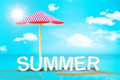 Vitt ord för sommar (text för tolkning 3D) med strandparaplyet på san Arkivbild