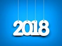 Vitt ord 2018 på blå bakgrund nytt år för illustration Arkivbilder