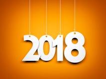Vitt ord 2018 på orange bakgrund nytt år för illustration Arkivbild