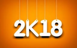 Vitt ord 2018 på orange bakgrund nytt år för illustration Royaltyfri Fotografi